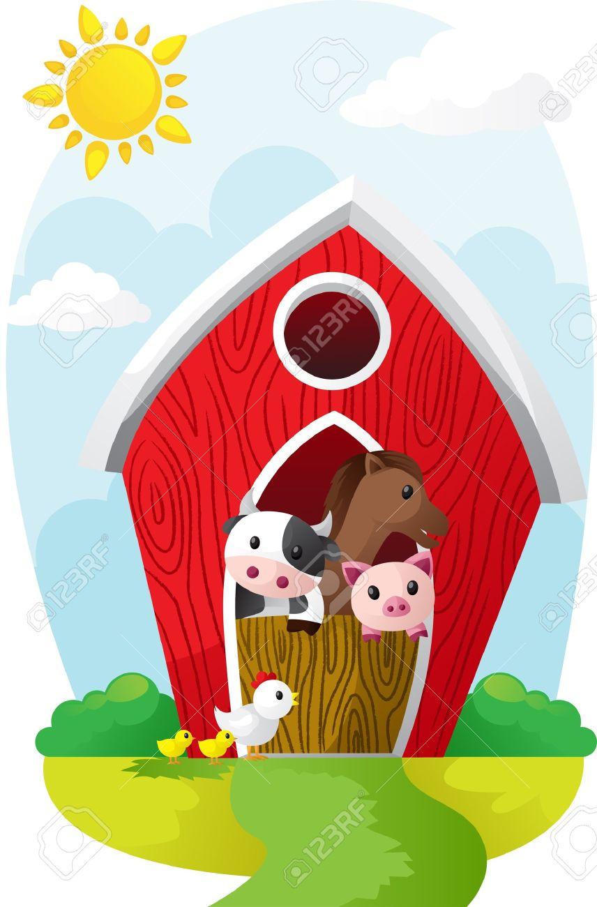 Illustration Of Farm Animals In A Barn Stock Vector