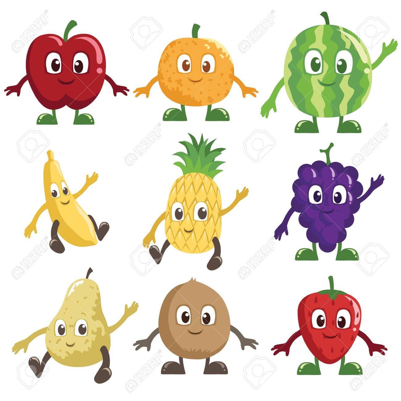 A vector illustration of a set of fruits characters Stock Vector - 14951248