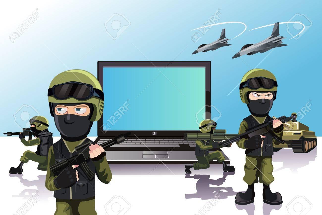 ノート パソコンを保護する兵士の軍隊のイラストのイラスト素材ベクタ