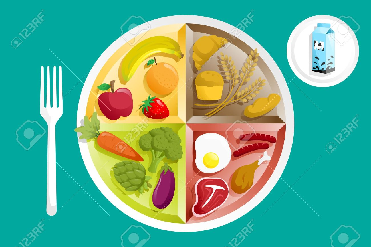 A Illustration Of Different Food Groups On A Plate Royalty Free ...