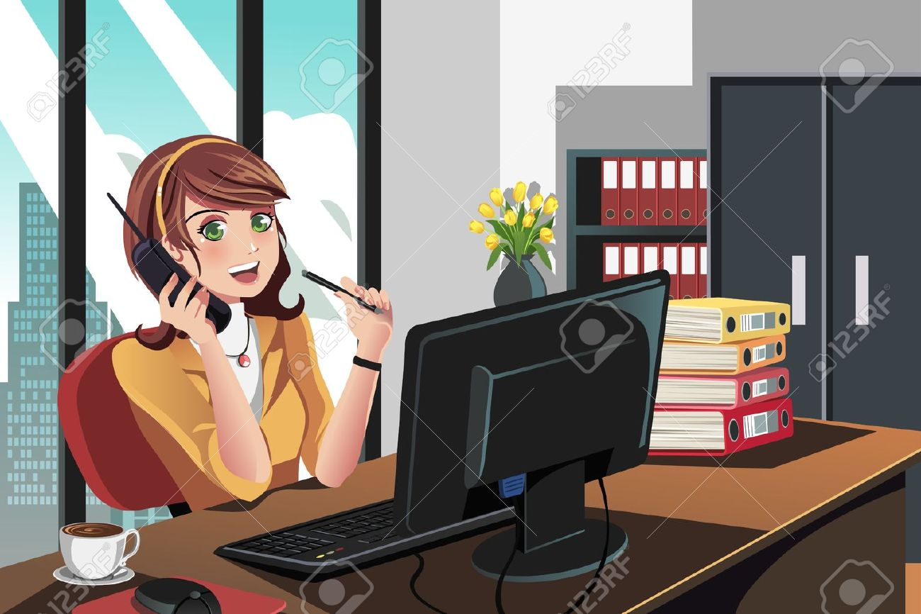 A  illustration of a businesswoman working in the office Stock Vector - 15543605