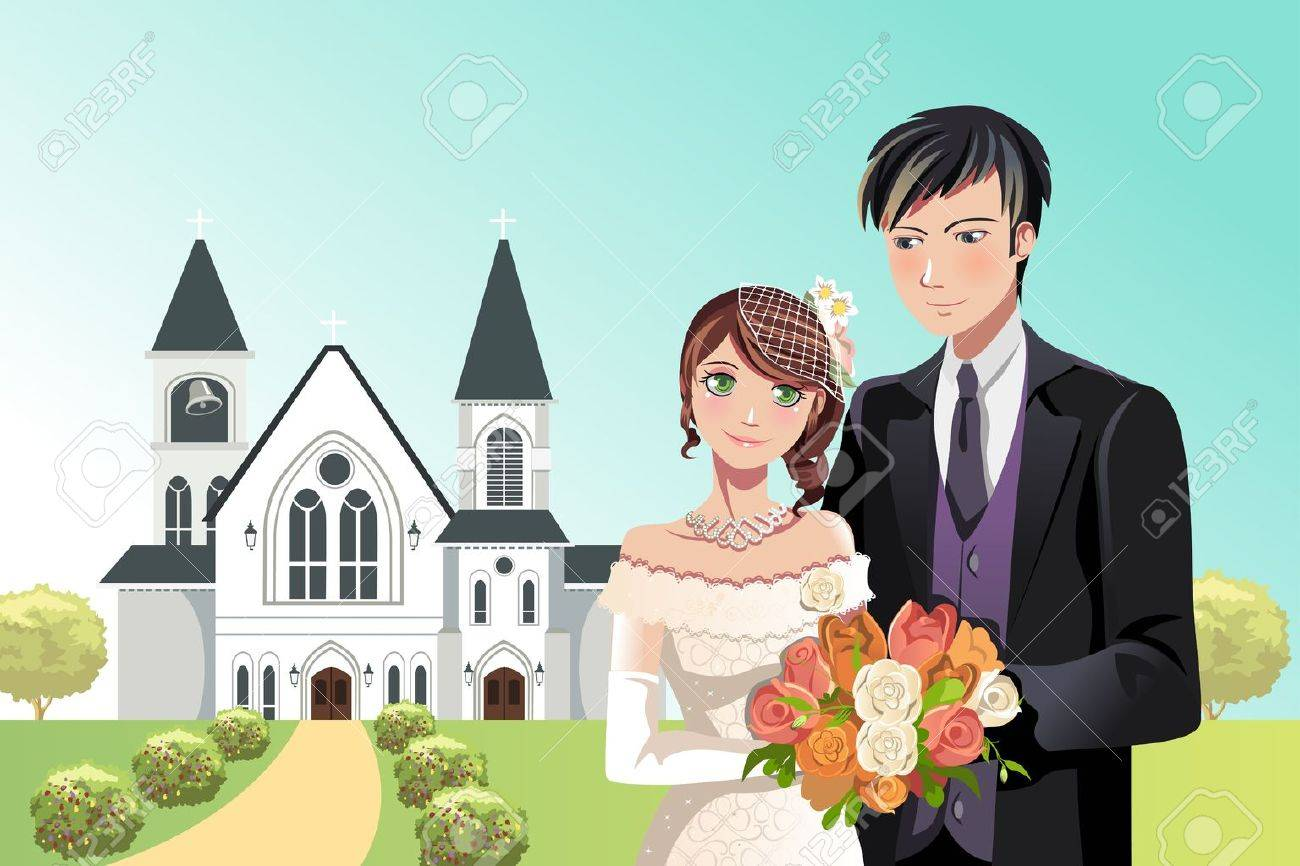 A  illustration of a couple getting married in front of a church Stock Vector - 15543650
