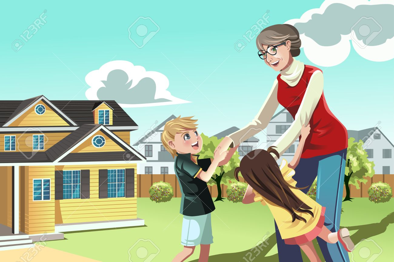 Stocks Right For You? How To Granddaughter: A Illustration Of A  Grandmother Playing With Her Grandchildren Illustration
