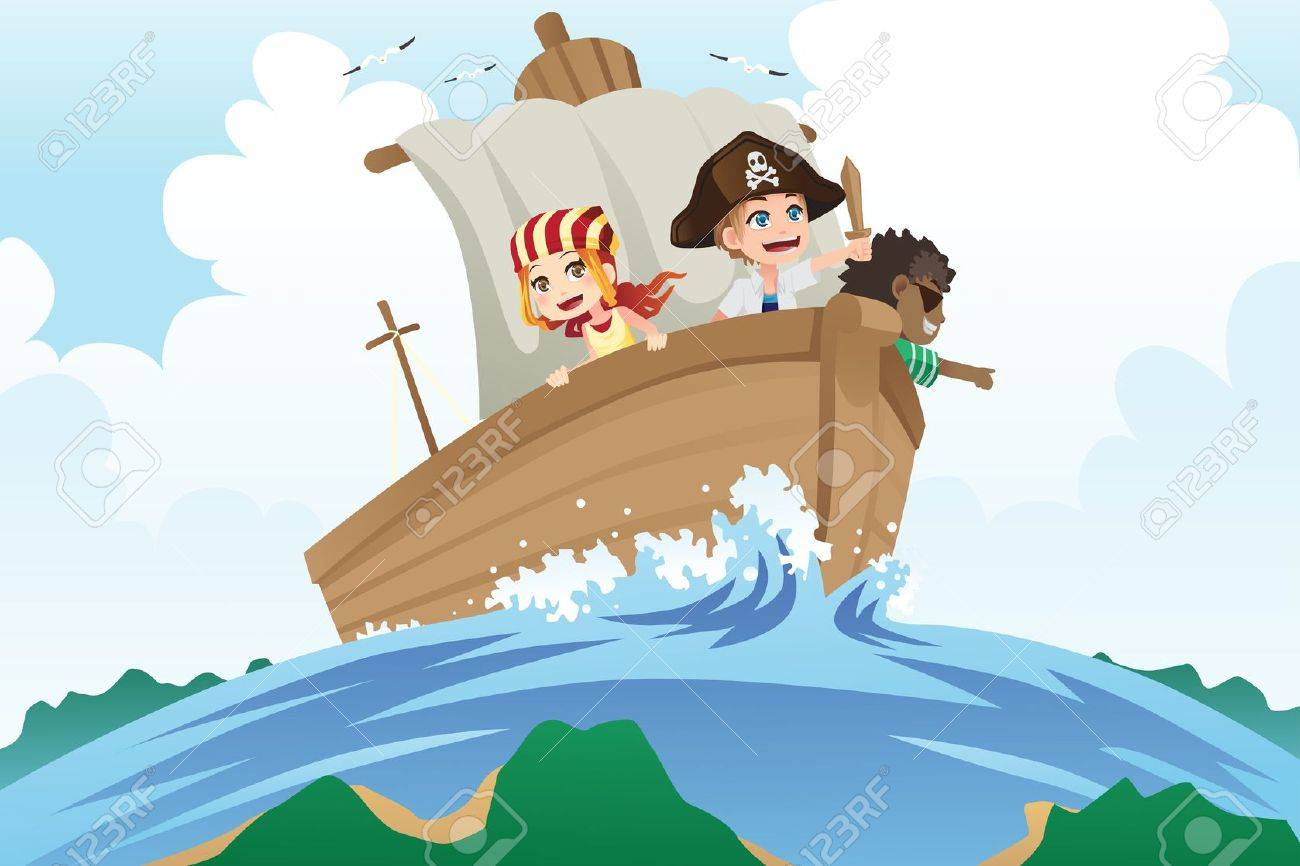 A illustration of kids dressed in pirates costumes sailing in a ship Stock Vector - 15688440