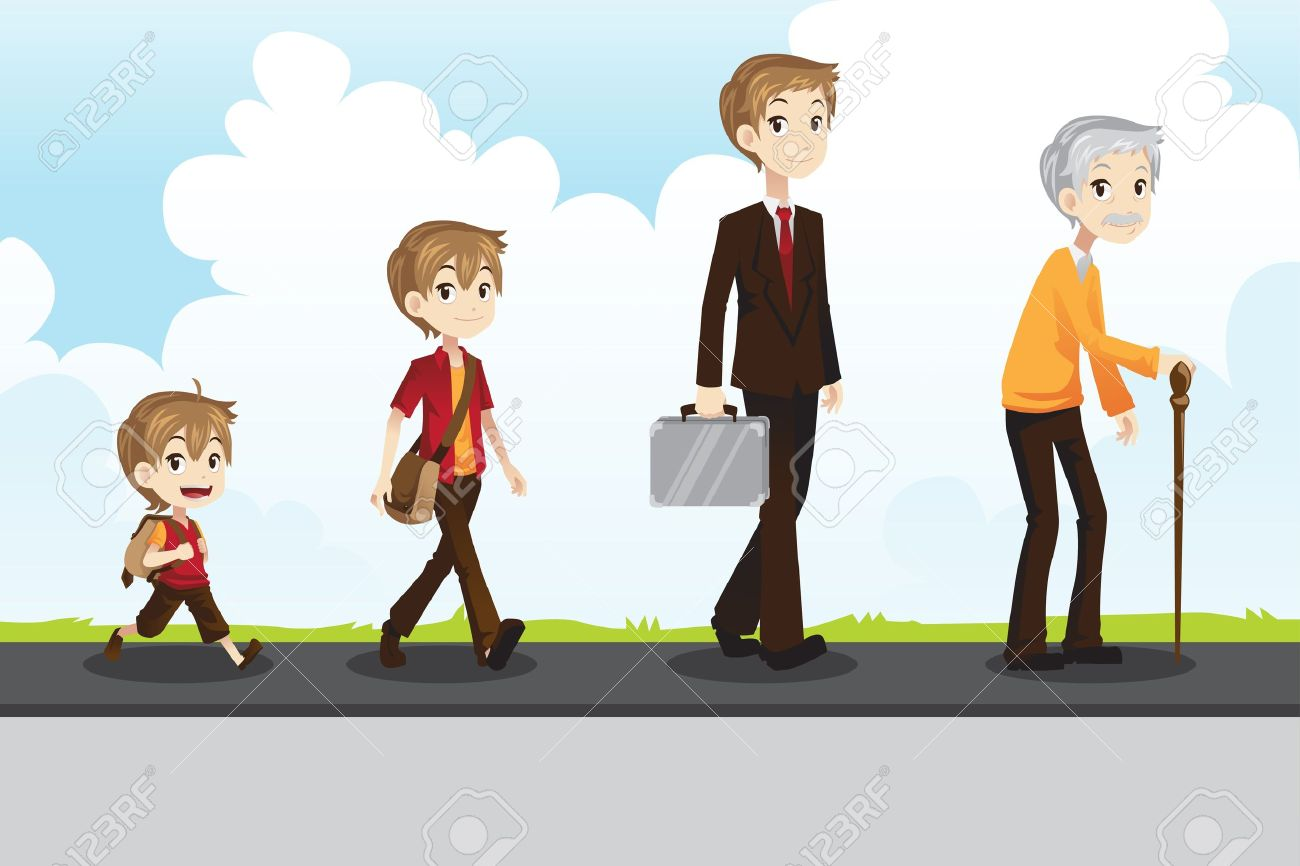 A vector illustration of a different stage of life of a man from young to old Stock Vector - 15795243