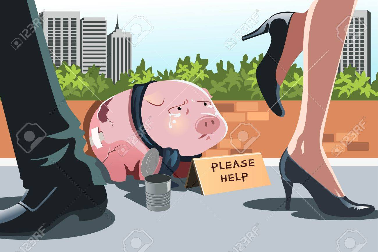 A vector illustration of a piggy bank panhandling on the sidewalk, can be used to portray the concept of financial crisis or recession Stock Vector - 15834299