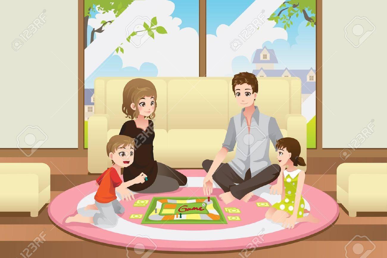 Una Ilustracion De Una Familia Feliz Jugando Un Juego De Mesa En El