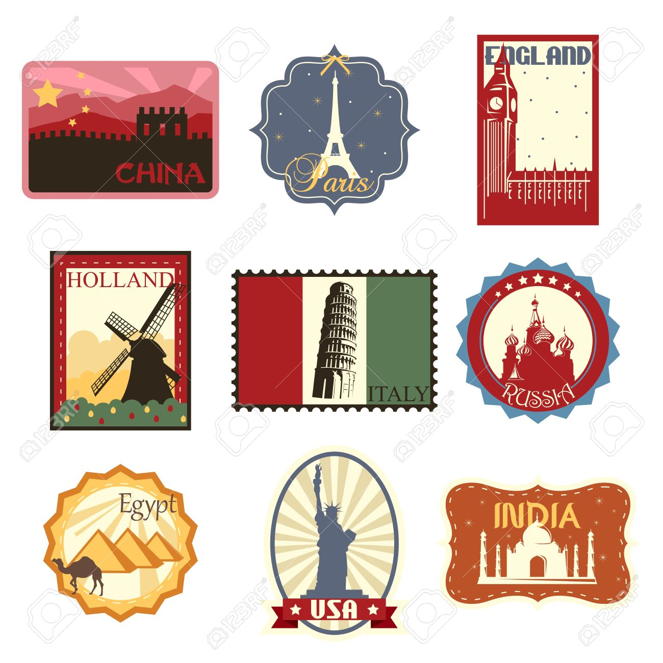 A illustration of world famous travel badges or labels Stock Vector - 16041700