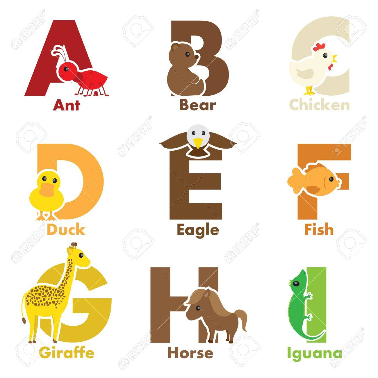 a illustration of alphabet animals from a to i royalty free