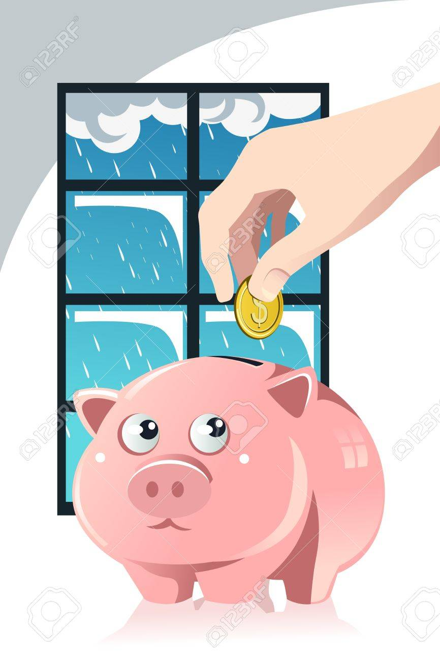 A vector illustration of a hand inserting a coin inside a piggy bank, a concept of saving for the rainy day Stock Vector - 16212824