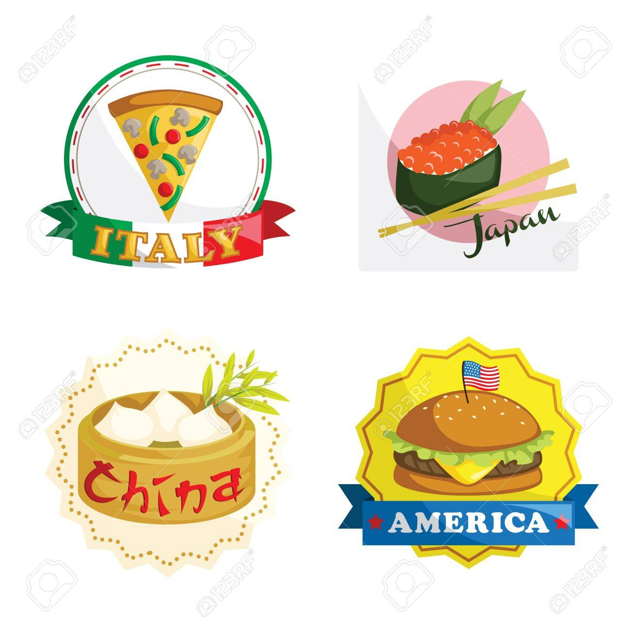 A vector illustration of international gourmet food icons Stock Vector - 16212827