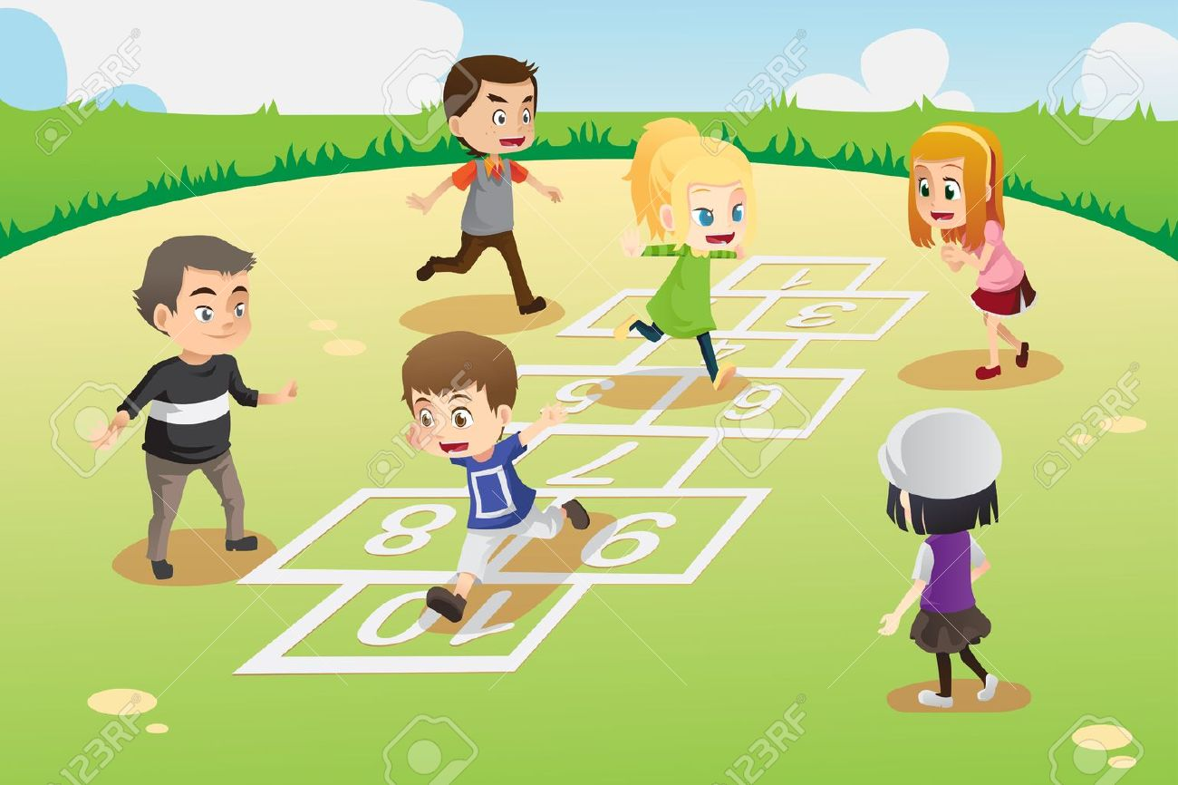A vector illustration of kids playing hopscotch in the park Stock Vector - 16459785