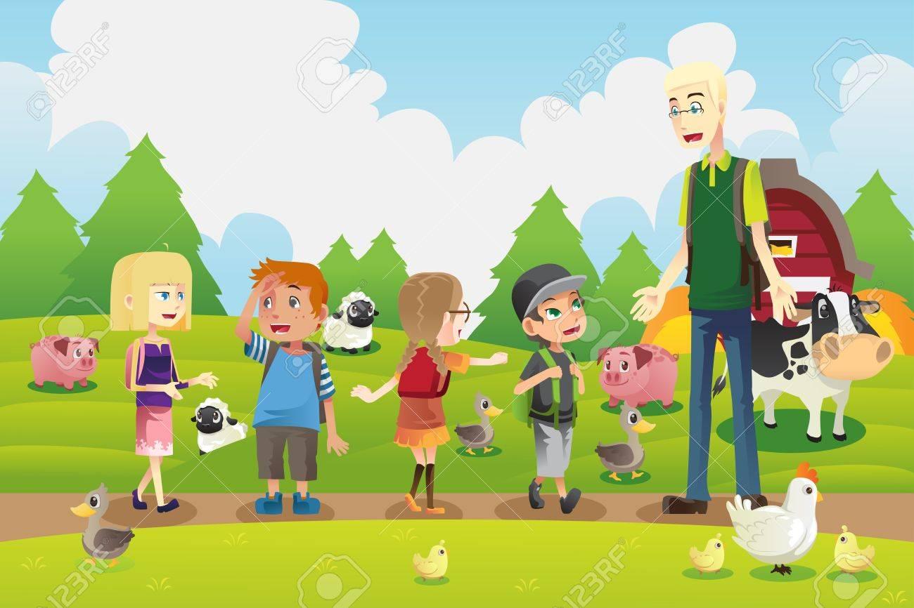Una Ilustración Vectorial De Un Grupo De Niños En Un Viaje De Campo ...