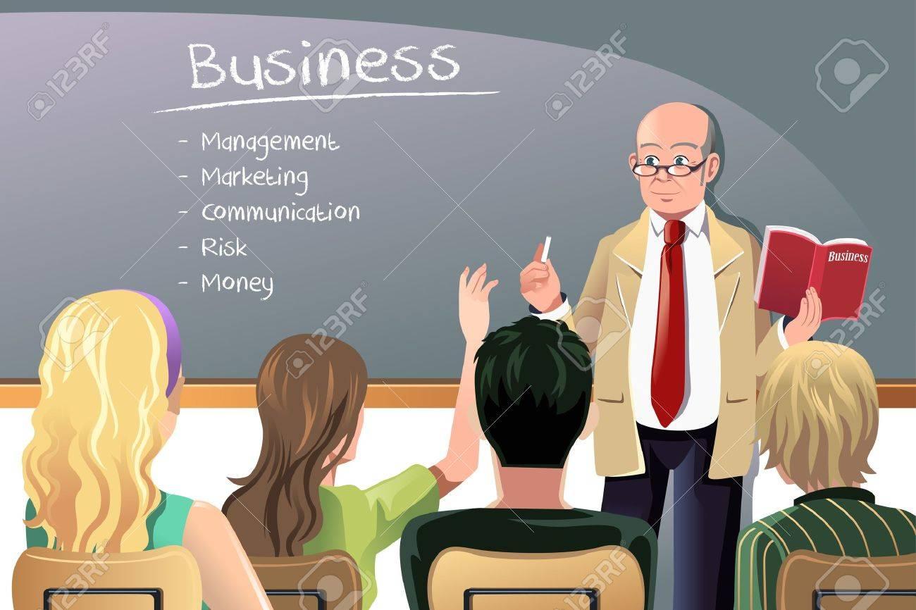 A Illustration Of A Business Class Teacher Or Professor Teaching ...