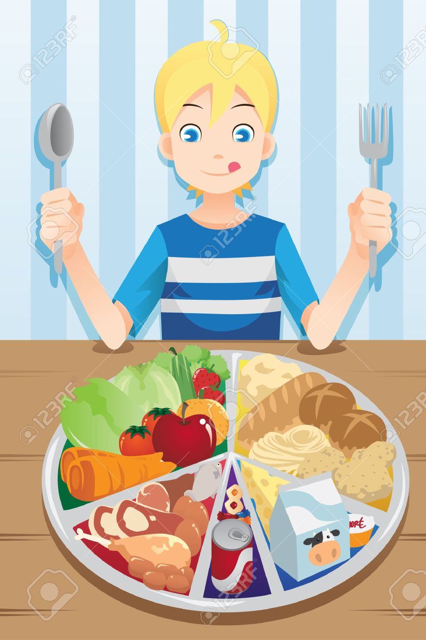 A illustration of a boy ready to eat a plate full of food Stock Vector - 17157797