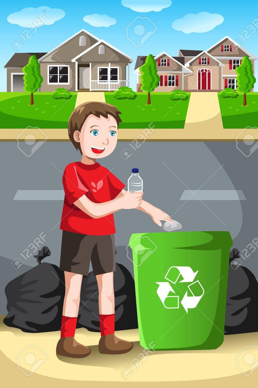 A vector illustration of a kid recycles a bottle into a recycling bin Stock Vector - 17337003