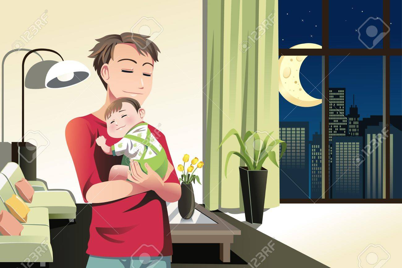 A  illustration of a father and a son spending time at home Stock Vector - 17337007