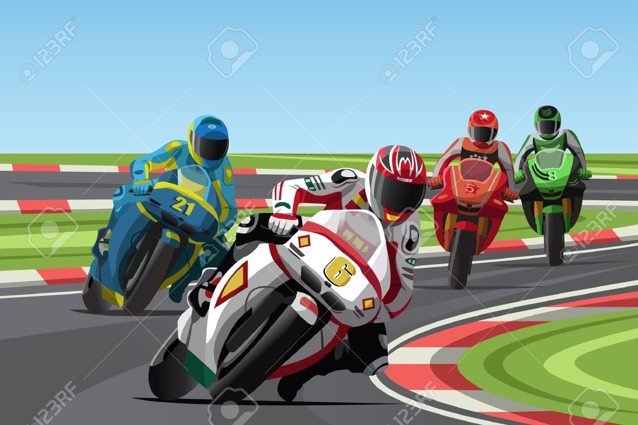 A  illustration of motorcycle racing on the racetrack Stock Vector - 17452280