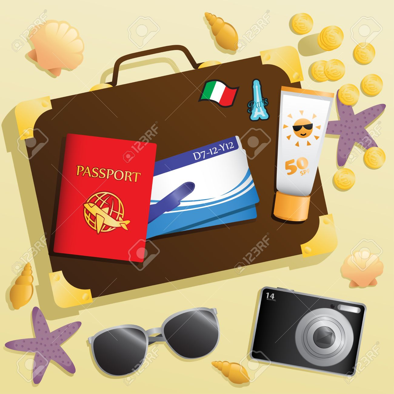 A  illustration of travel items background Stock Vector - 17452274