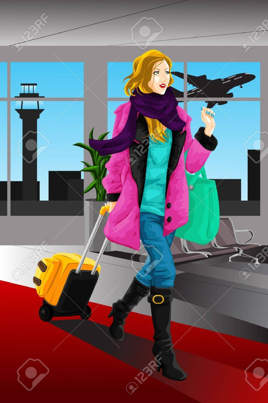 A vector illustration of a traveling woman at the airport Stock Vector - 17571733