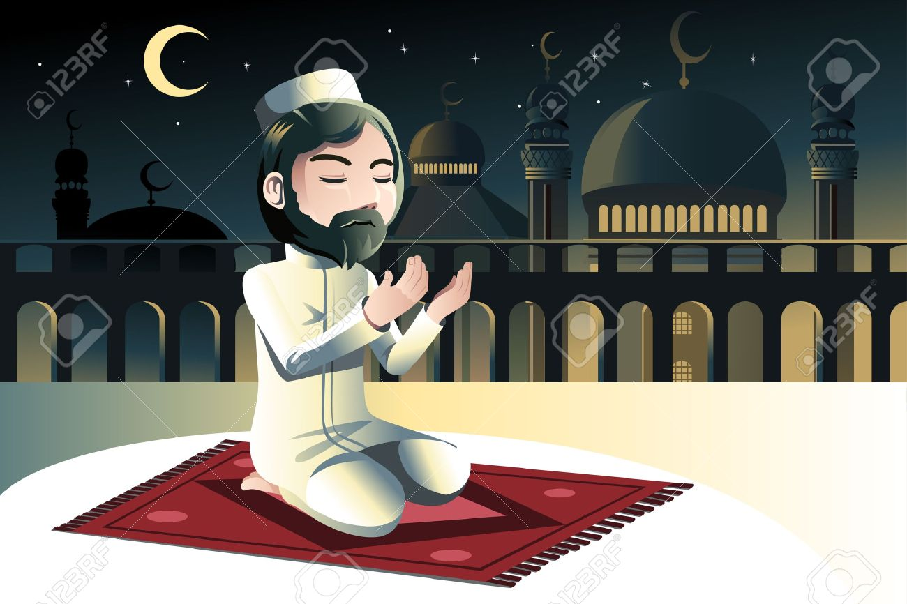 A vector illustration of a muslim praying in a mosque Stock Vector - 17573027