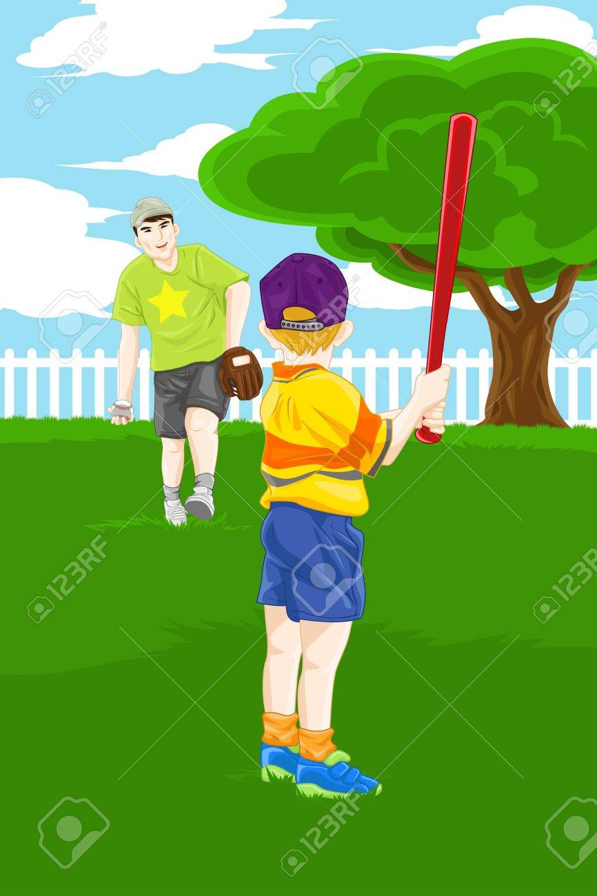 a vector illustration of a father and his son playing baseball