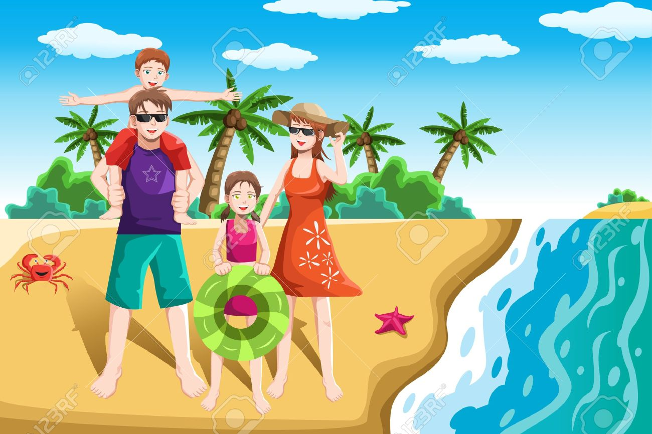 A vector illustration of a happy family going to the beach for vacation Stock Vector - 17783966