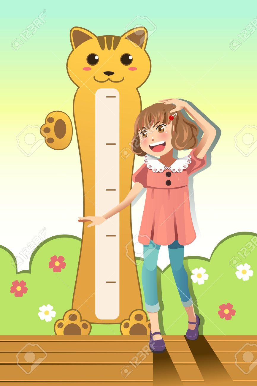 A vector illustration of a girl measuring her height with height scale on the wall Stock Vector - 17783964