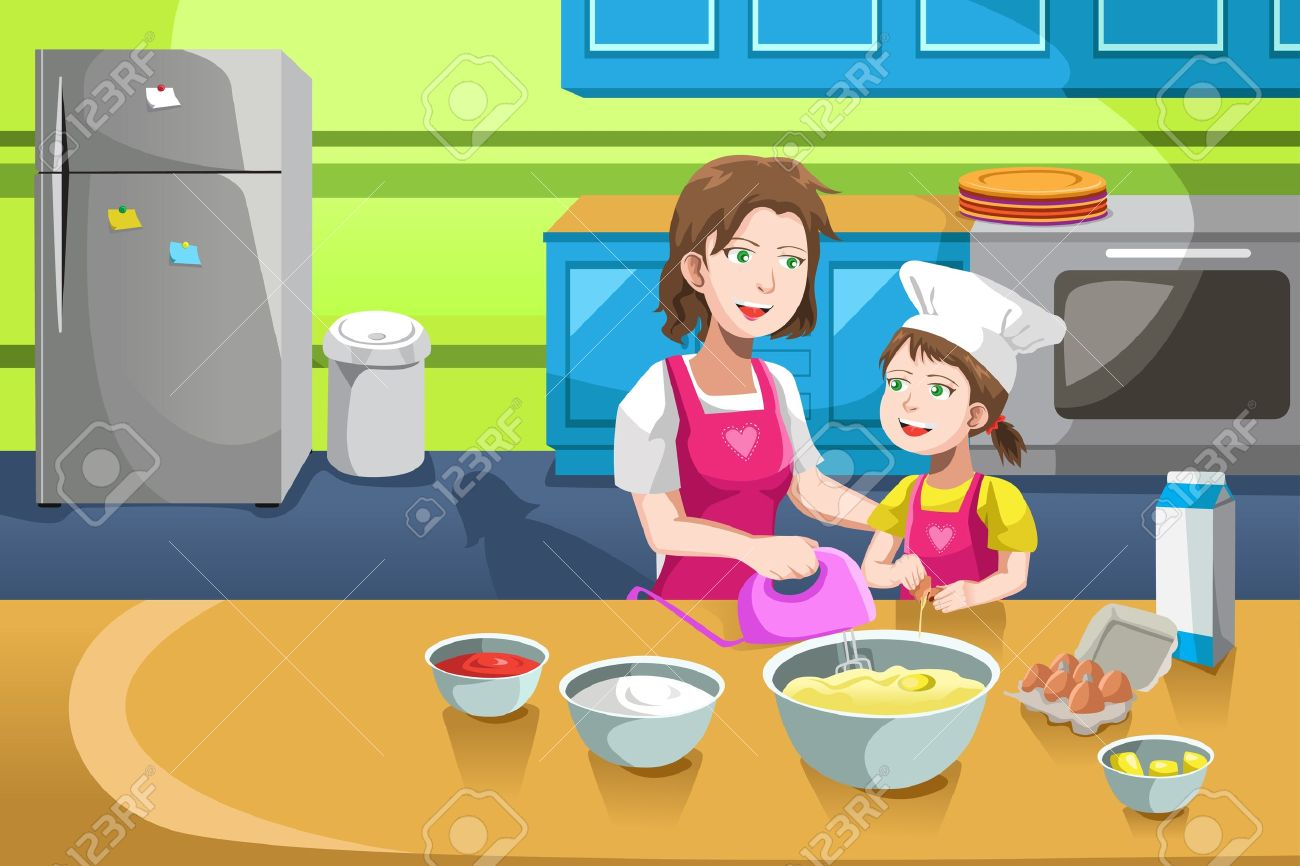 Play kitchen clip art - A Illustration Of Mother And Her Daughter Baking In The Kitchen Stock Vector 17991776