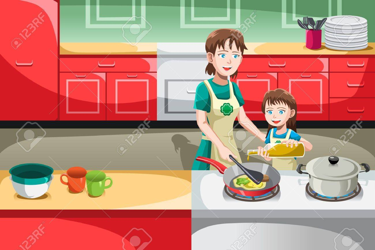 Selection of cartoons on cooking kitchens food and eating - Mother Cooking A Vector Illustration Of Mother And Her Daughter Cooking In The Kitchen