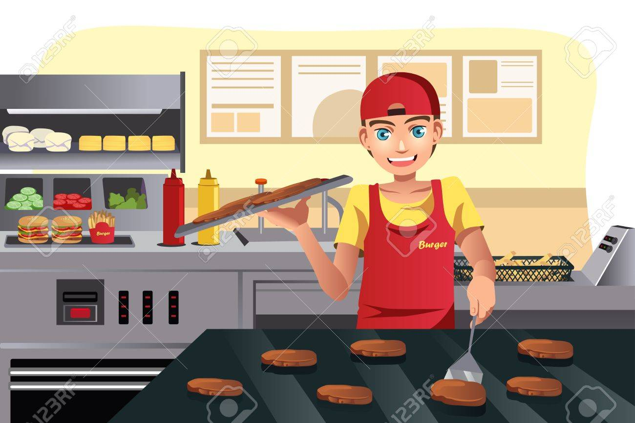 Restaurant Kitchen Illustration a illustration of a cook flipping burgers at a fast food