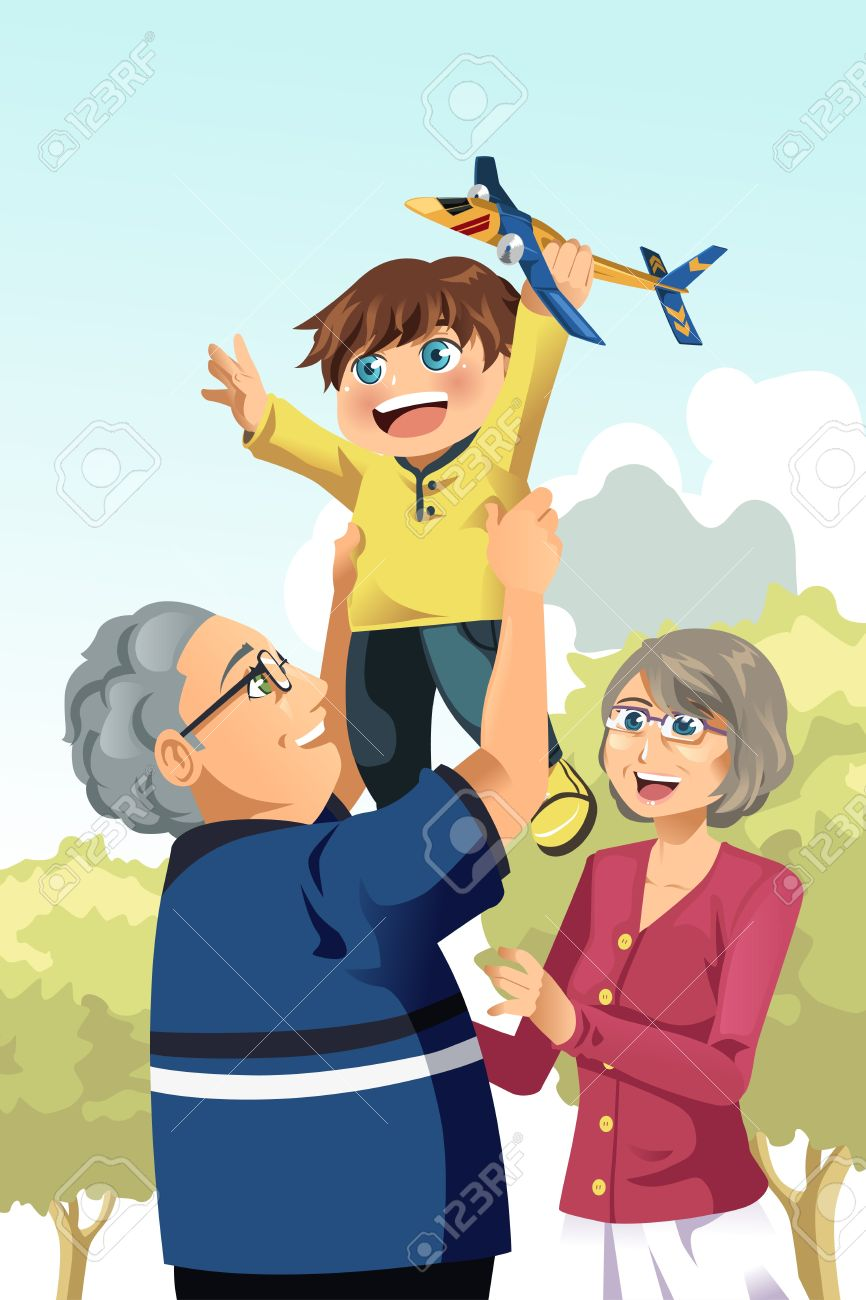 A illustration of happy grandparents playing with their grandson Stock Vector - 18725659