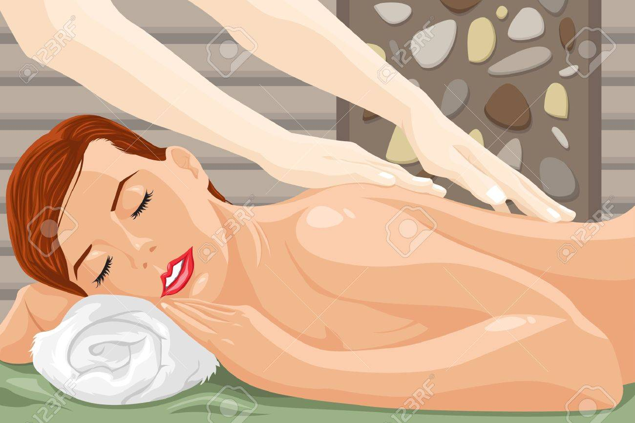 A vector illustration of woman enjoying a massage at the spa Stock Vector - 18983874