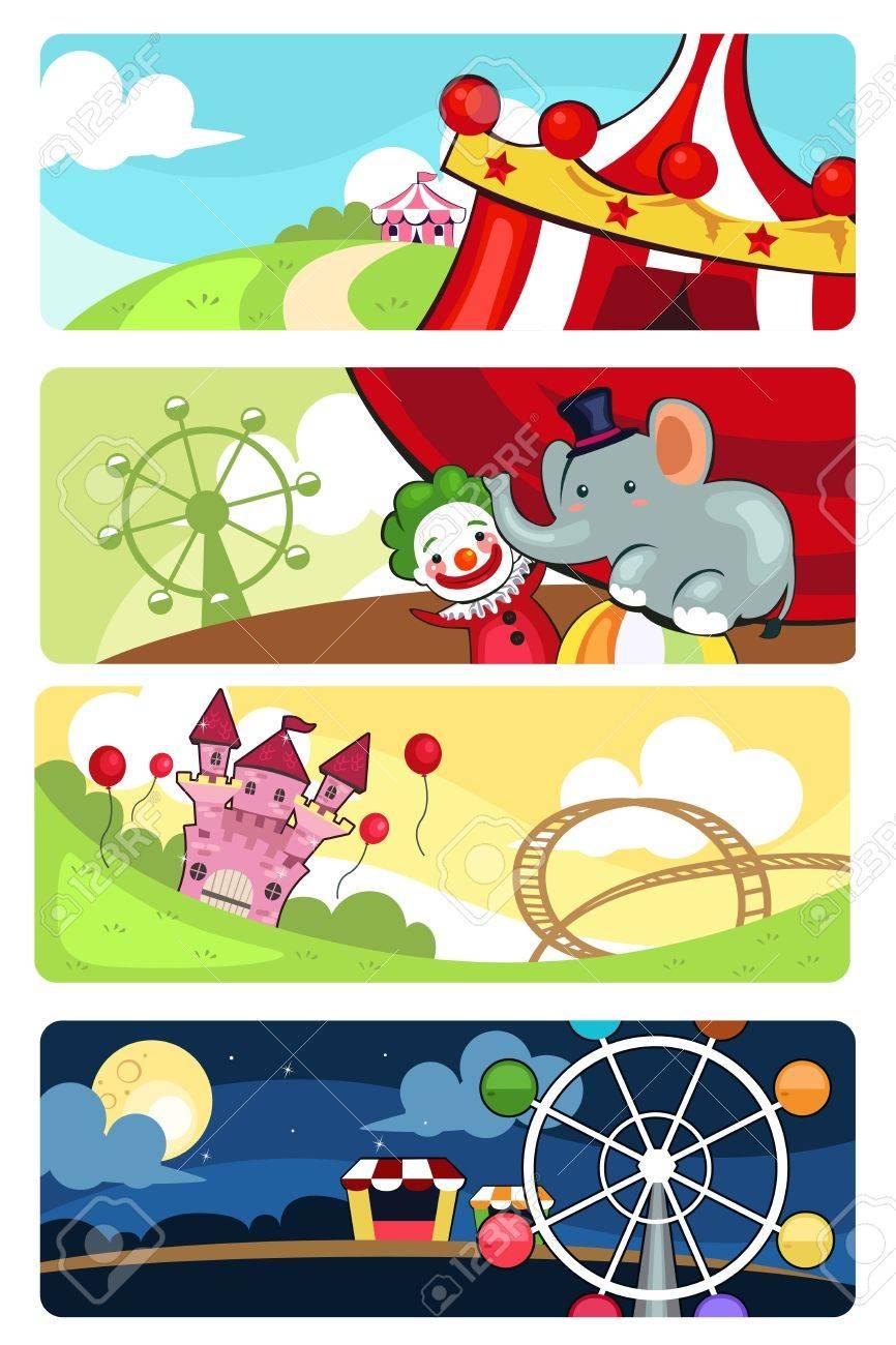 A vector illustration of amusement park banner sets Stock Vector - 18983875