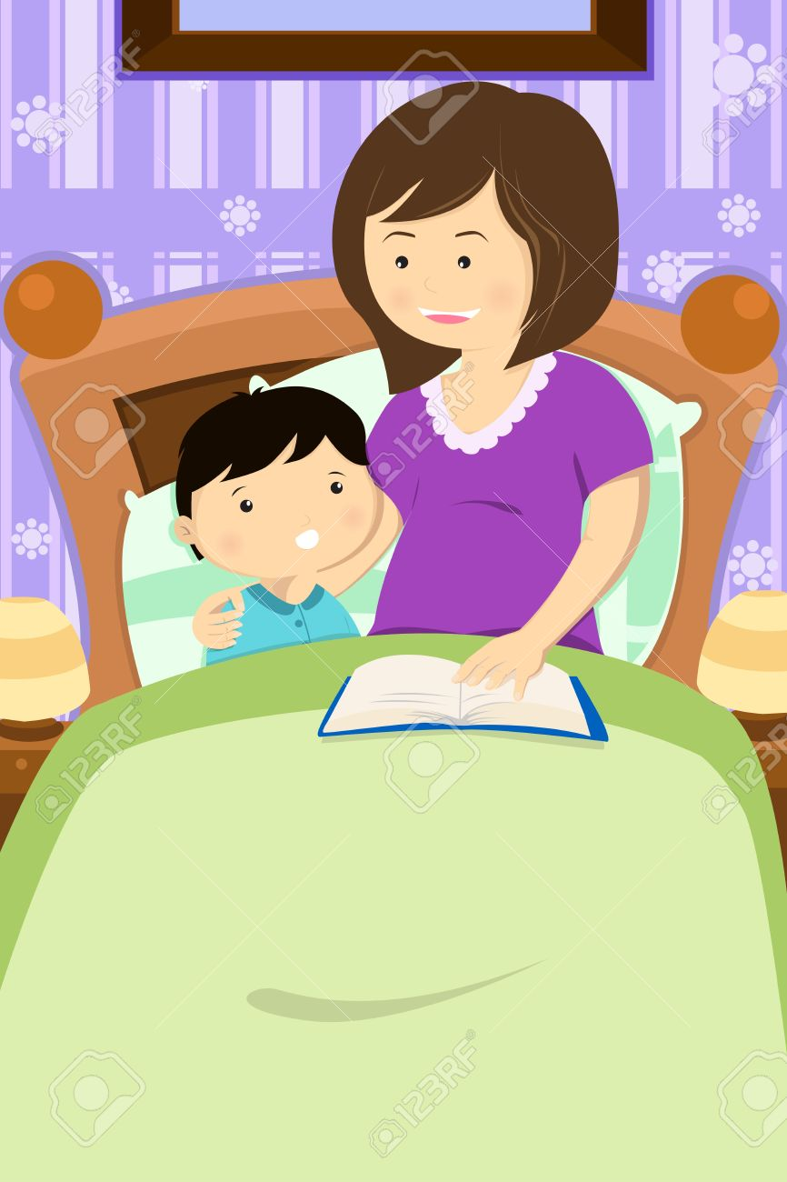 Illustration of mother reading a bedtime story to her son Stock Vector - 19247037