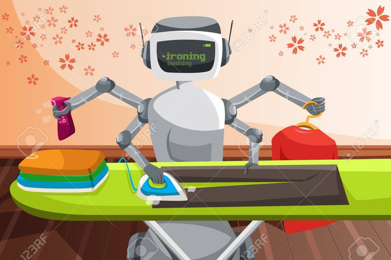 A vector illustration of a robot ironing clothes - 19363416
