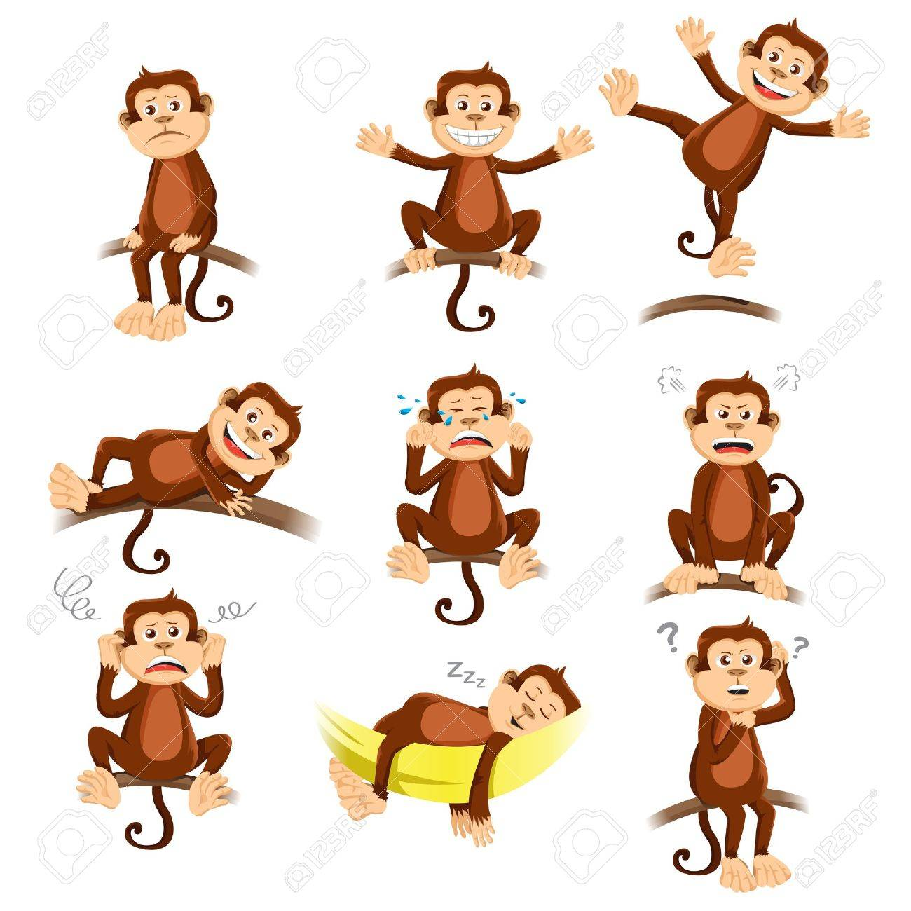 A  vector illustration of monkey with different expression Stock Vector - 19610743