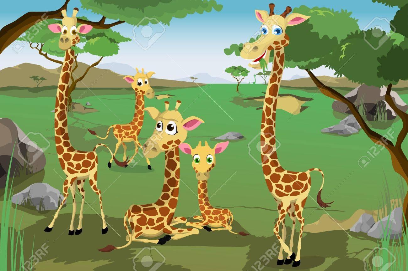 a vector illustration of a family of giraffes in savannah royalty