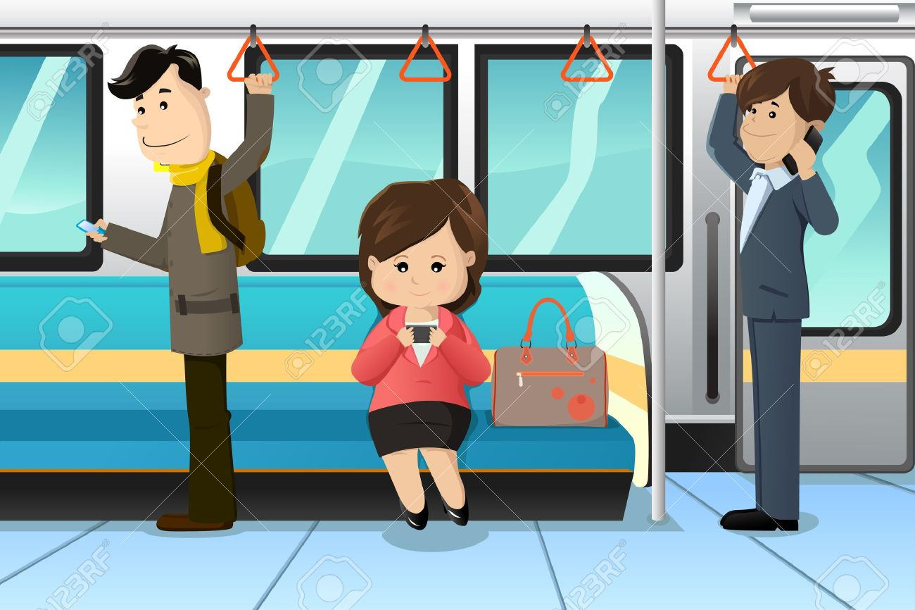 A vector illustration of peoples using cell phones in a train Stock Vector - 19897128