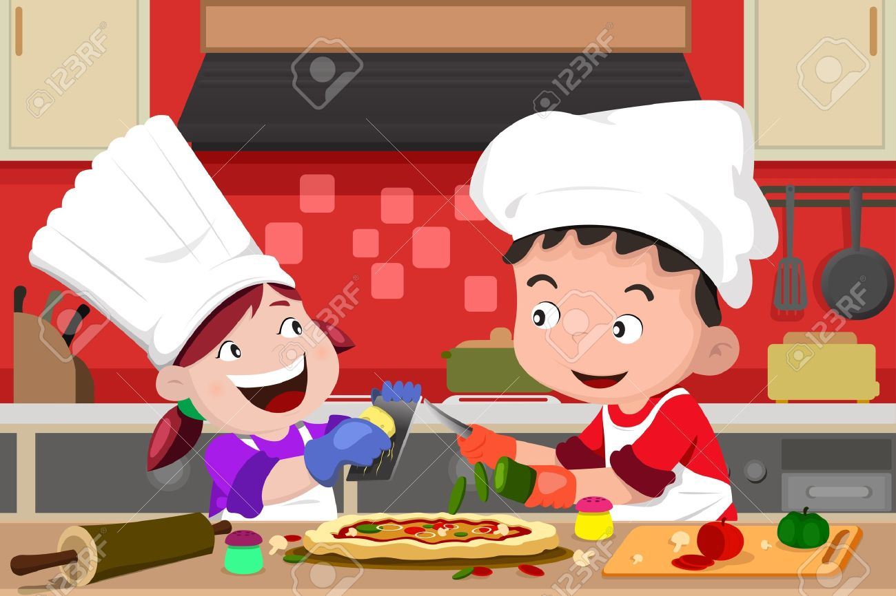 Selection of cartoons on cooking kitchens food and eating - Kitchen Helper A Vector Illustration Of Happy Kids Having Fun In The Kitchen Making Pizza
