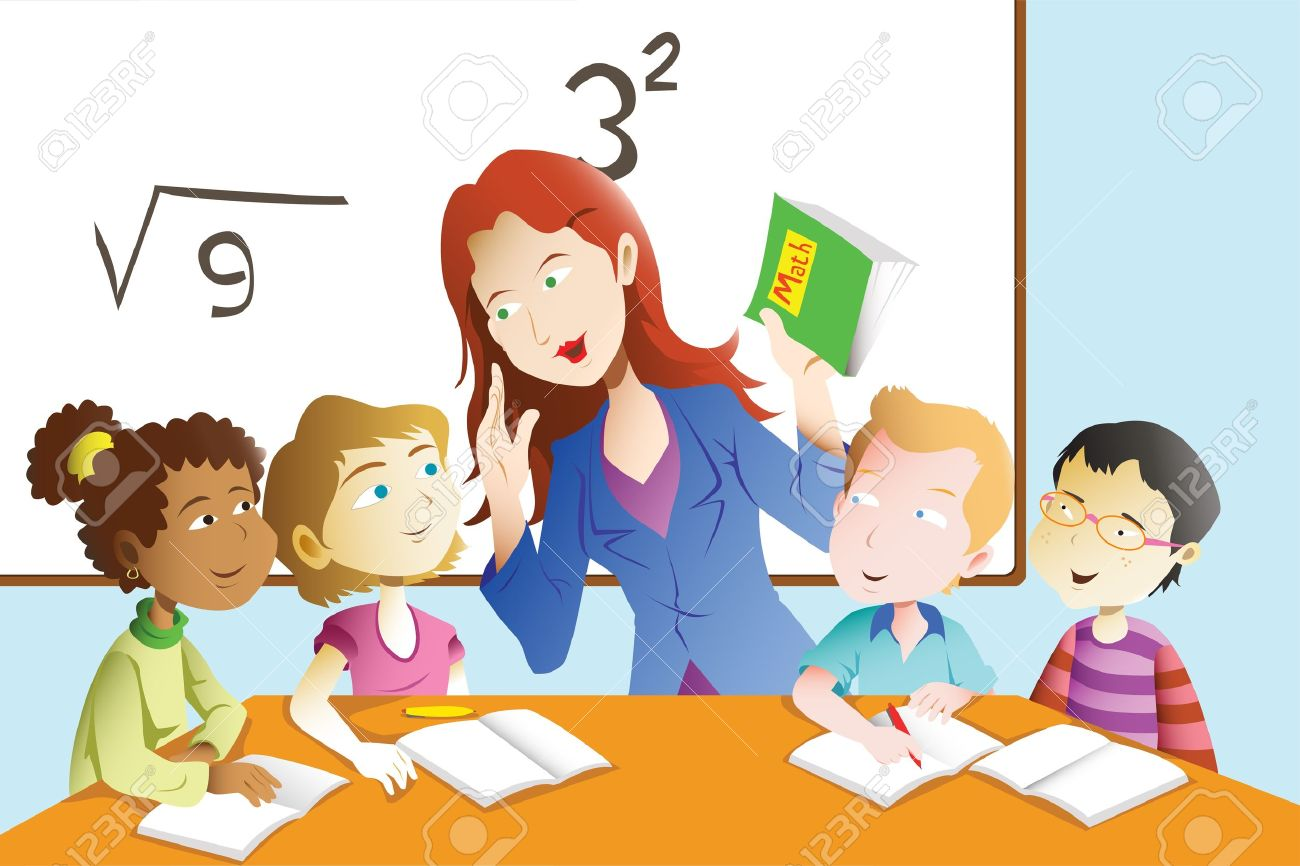 A Vector Illustration Of Kids Studying Math In Classroom With ...