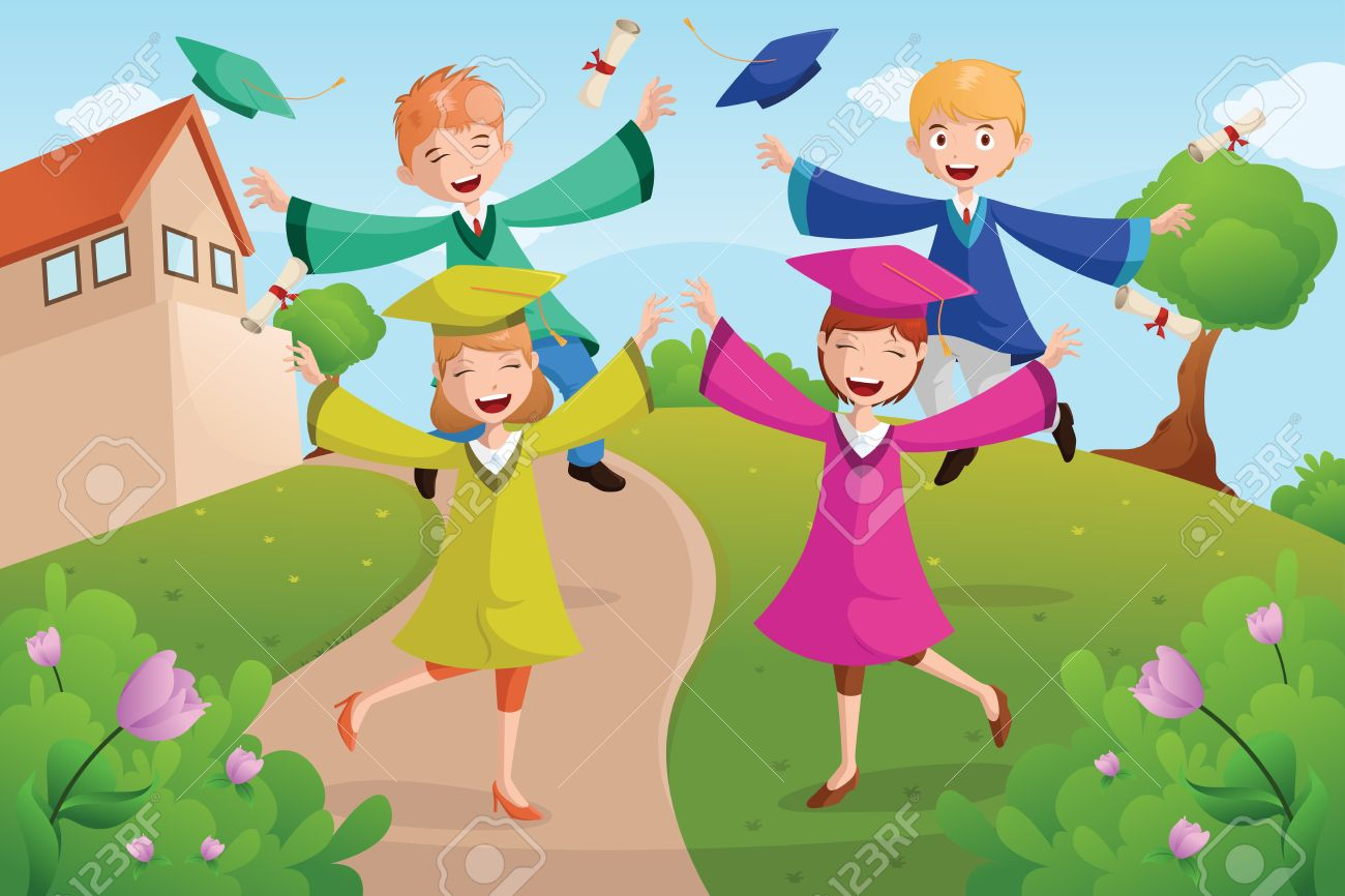A vector illustration of happy college students celebrating graduation Stock Vector - 20367261
