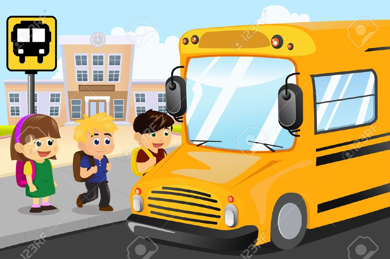 a vector illustration of kids waiting to get on a school bus royalty