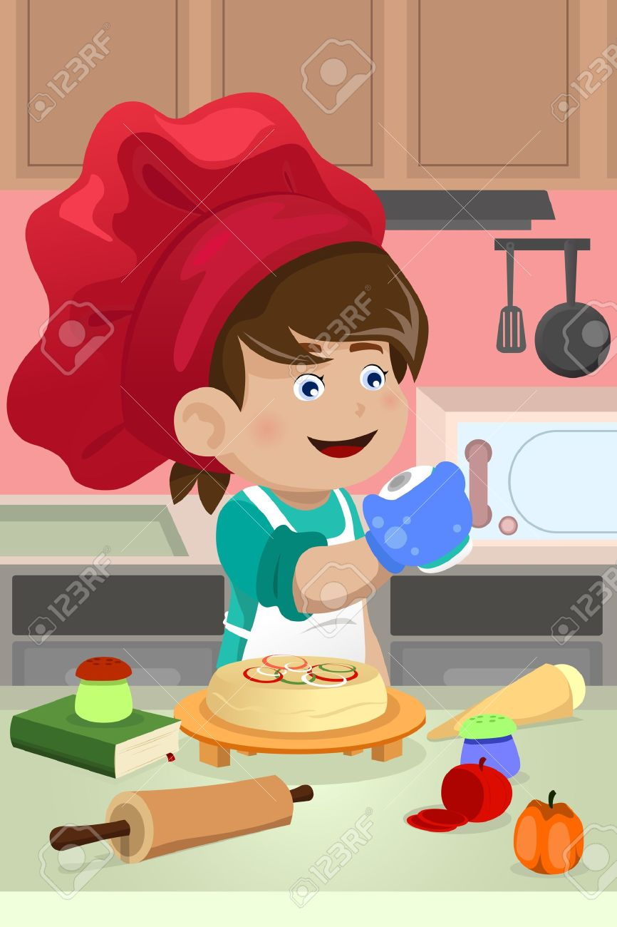 A vector illustration of happy kid cooking in the kitchen Stock Vector - 21728517