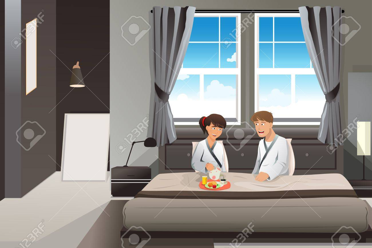 A illustration of Happy couple having breakfast in bed Stock Vector - 21971652