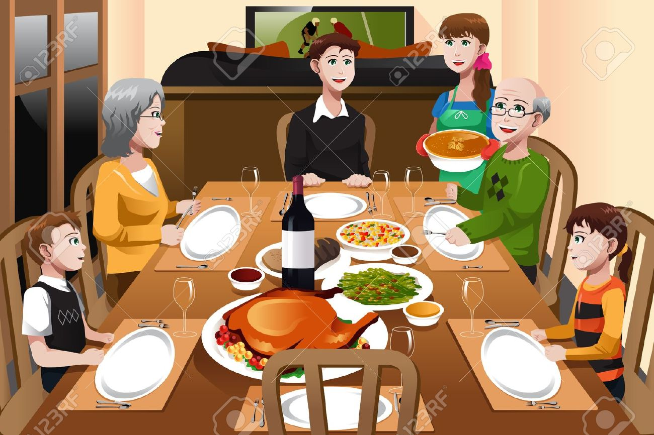 A Illustration Of Happy Family Having Thanksgiving Dinner Together Stock Vector