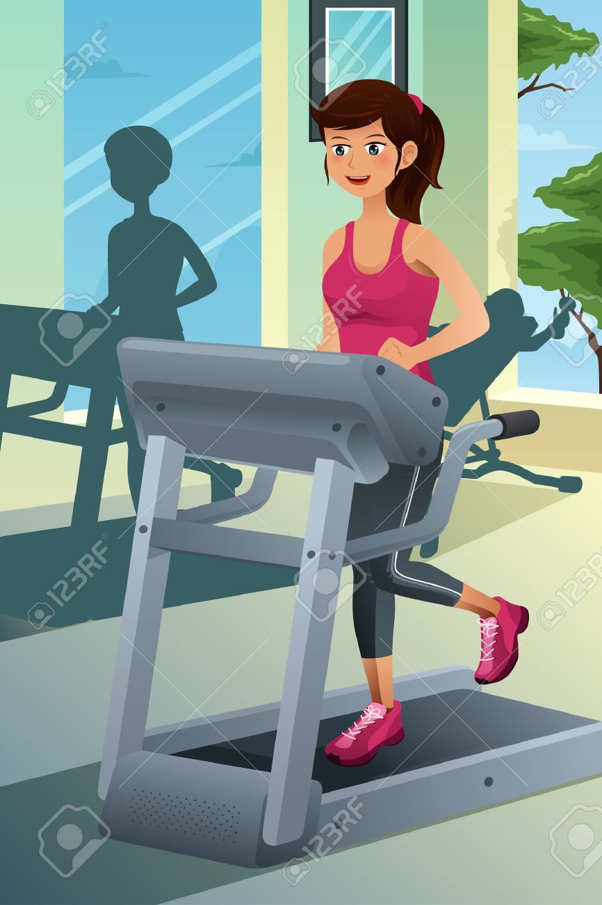 A vector illustration of a young beautiful woman running on a treadmill in a gym - 22246781