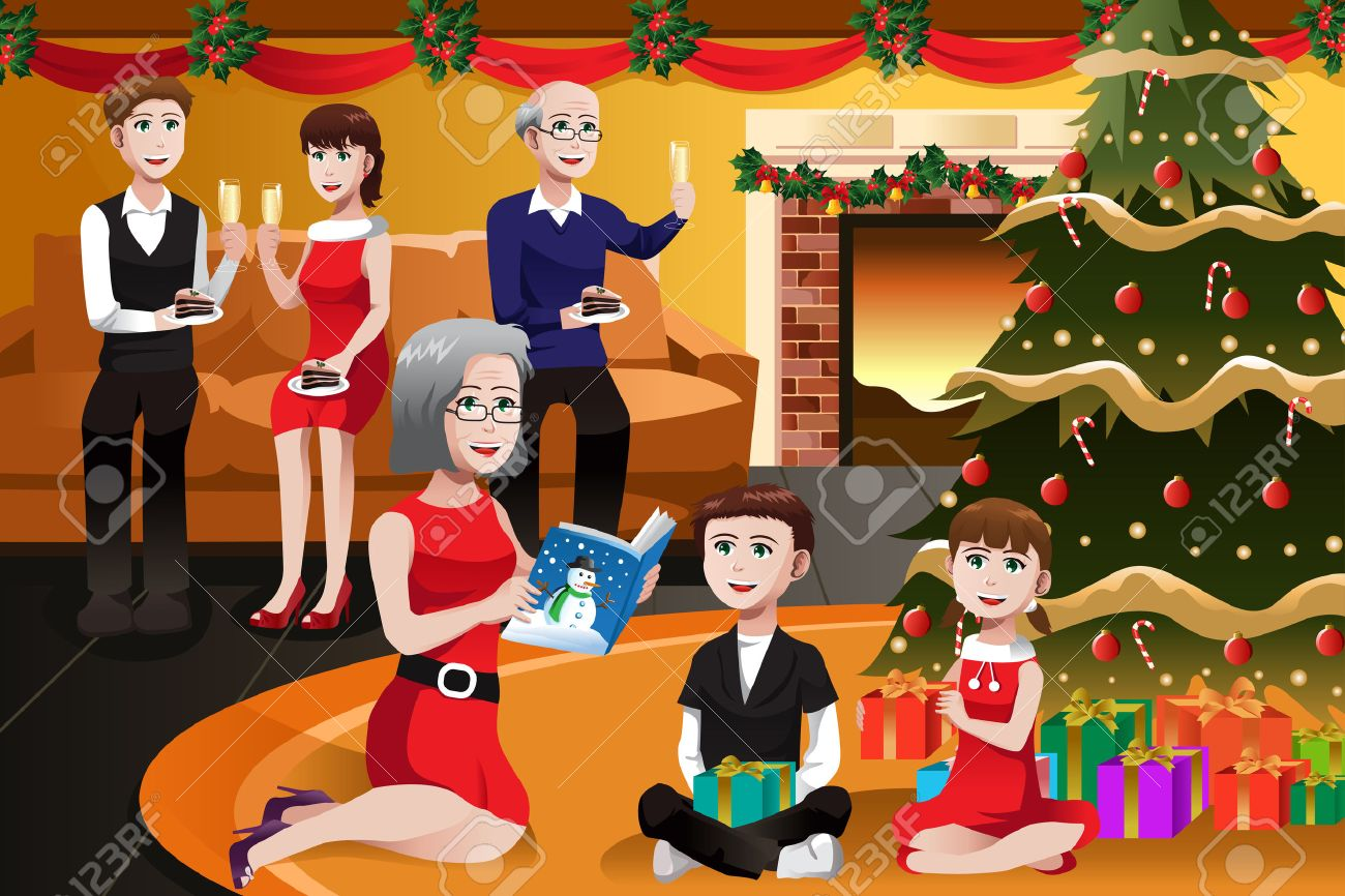 A Vector Illustration Of Happy Family Having Christmas Party Together Stock
