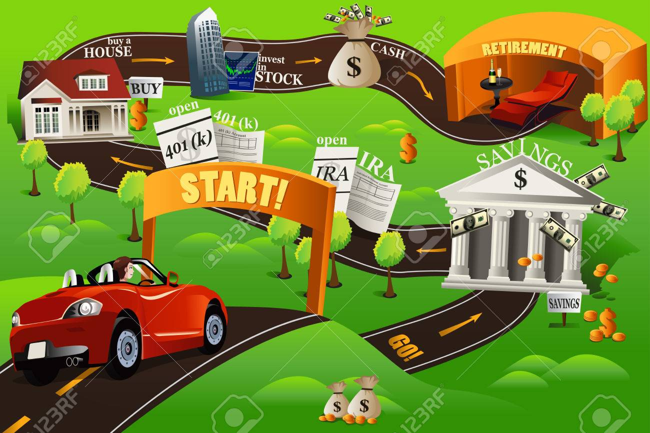 A vector illustration of financial roadmap for financial concept - 23072335