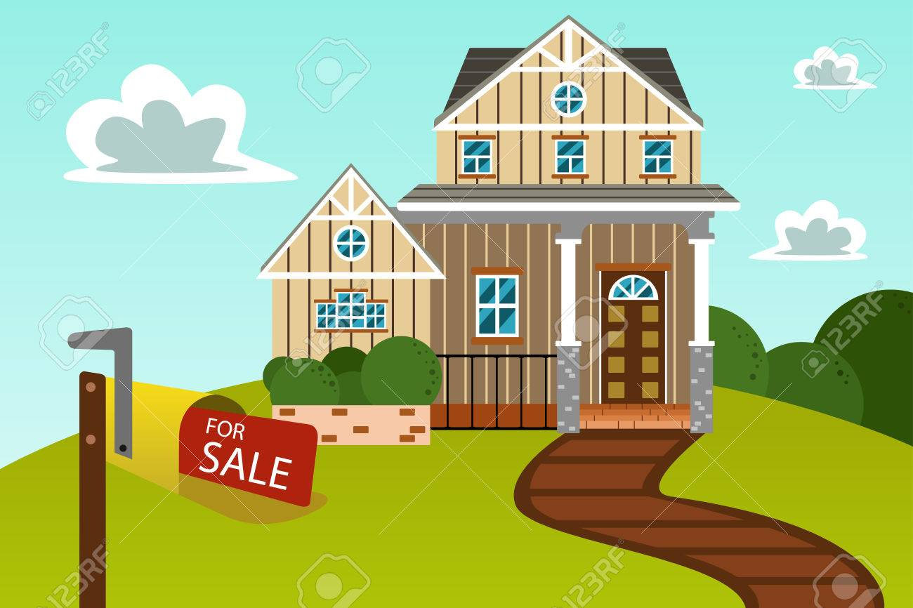 A Vector Illustration Of Big Beautiful Modern House With For